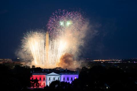 Fireworks appear above the White House North Portico